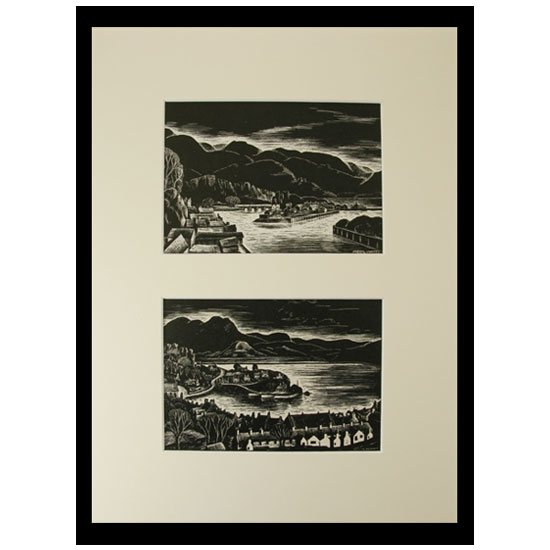 Meryl Watts Original Set of 2 Mounted & Framed Postcards ...