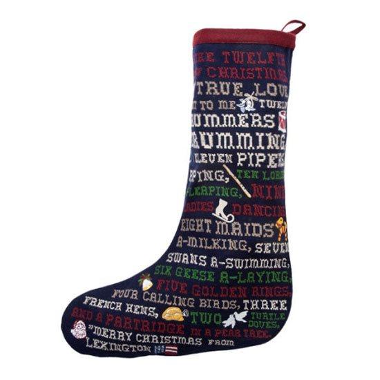Embroidered Christmas Stockings.Lexington Blue Embroidered Christmas Stocking