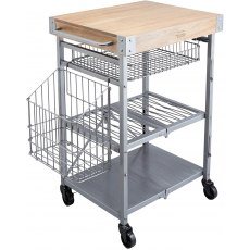 Industrial Kitchen Wire & Mango Wood Folding Trolley