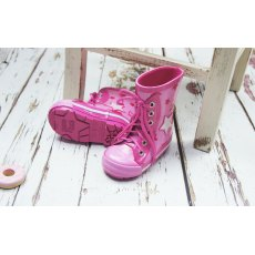 Blade & Rose Pink Star Lace Up Wellington Boots