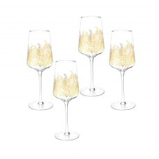 Sara Miller London Portmeirion Chelsea Gold Leaf Wine Glass Set of 4