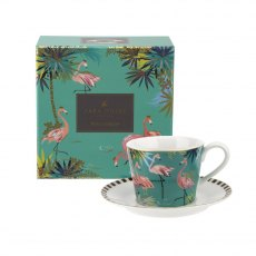 Sara Miller London Portmeirion Tahiti Teacup & Saucer Flamingo