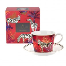 Sara Miller London Portmeirion Tahiti Teacup & Saucer Zebra