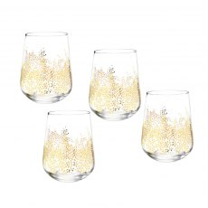 Sara Miller London Portmeirion Chelsea Gold Leaf Stemless Wine Glass Set of 4