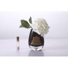 Cote Noire Luxury Range Ivory White Tea Rose in Black Glass