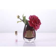 Cote Noire Luxury Range Carmine Red Tea Rose in Black Glass