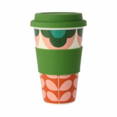 Orla Kiely Summer Flower Stem Travel Mug Pink & Green