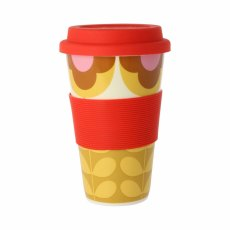 Orla Kiely Summer Flower Stem Travel Mug Red & Yellow