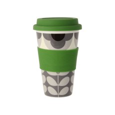 Orla Kiely Summer Flower Stem Travel Mug Grey & Black