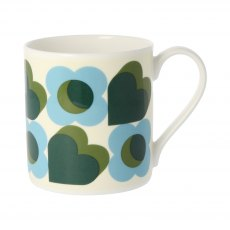 Orla Kiely Hearts Green Quite Big Mug