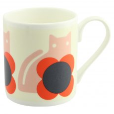 Orla Kiely Cat Poppy Red Quite Big Mug