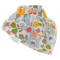 Ziggle Flowers Dribble Bib Blue & Grey