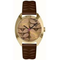 Orla Kiely Beatrice Watch With Brown Leather Strap