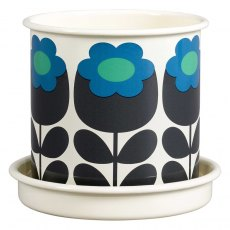 Orla Kiely Primrose Emerald Medium Enamel Plant Pot