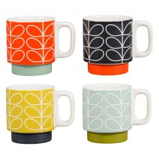 Orla Kiely Linear Stem Stacking Espresso Mugs Set of 4