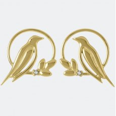 Sara Miller Diamond Bird Stud Earrings Gold