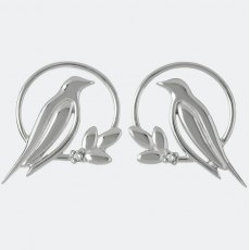 Sara Miller Diamond Bird Stud Earrings Silver