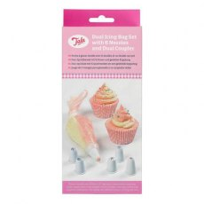 "Tala Pack 10 Large 12"" Dual Icing Bags With 6 Nozzles And Dual Coupler"