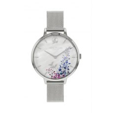 Sara Miller Wisteria Watch in Silver and White