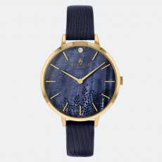 Sara Miller Navy Leaf Diamond Watch