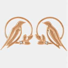Sara Miller Diamond Bird Stud Earrings Rose Gold