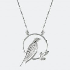 Sara Miller Diamond Bird Charm Necklace Silver