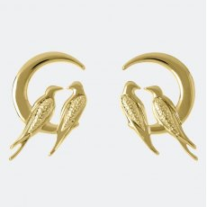 Sara Miller Lovebird Stud Earrings Gold