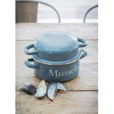 Enamel Mussel Pot in Dorset Blue