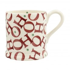 Emma Bridgewater Joy Trumpets Red All Over Ho Ho Ho 1/2 Pint Mug