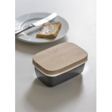 Enamel Butter Dish in Charcoal with Beech Lid