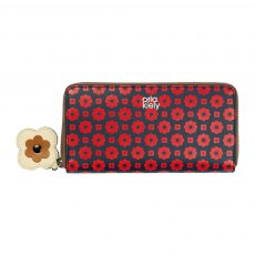 Orla Kiely Flower Foulard Big Zip Wallet - Navy & Red