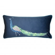 Sophie Allport Peacock Navy Feather Cushion