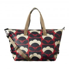 Orla Kiely  Spring Bloom Matt Laminated Zip Holdall - Poppy