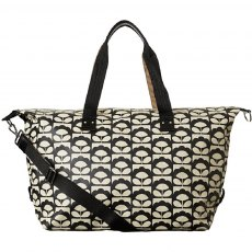 Orla Kiely Spring Bloom Matt Laminated Zip Holdall - Charcoal
