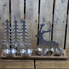 Christmas Aluminium Tree & Reindeer Tealight Holder