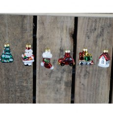 Christmas Six Hanging Glass Ornaments