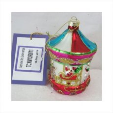 Multi Coloured Hanging Glass Carousel Ornamnent