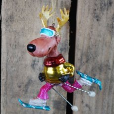 Multi Coloured Glass Reindeer Ornament