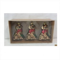 Box/3 Gold Hanging Glass Dog Ornaments