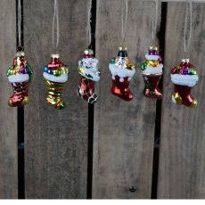 Box/6 Hanging Glass Xmas Stocking Ornaments