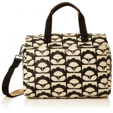 Orla Kiely Spring Bloom Matt Laminated Zip Messenger - Charcoal