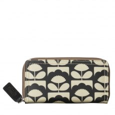 Orla Kiely Tiny Spring Bloom Big Zip Wallet - Charcoal