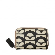 Orla Kiely Tiny Spring Bloom Medium Zip Wallet - Charcoal