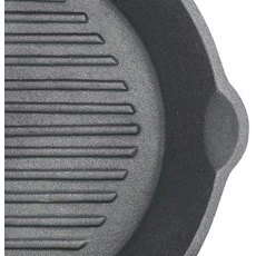 KC Cast Iron Round Grill Pan Ribbed Base 24cm