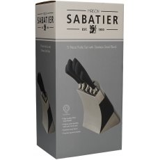 Sabatier 5pc Knife Set With Stainless Steel Block