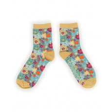 Modern Floral Ankle Socks Turquoise