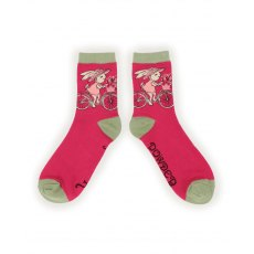 Bicycling Bunny Ankle Socks