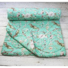 Mint Blossom Double Quilted Throw