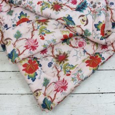 Pink Floral Double Quilted Throw