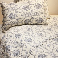Grace Blue Quilted Bedspread